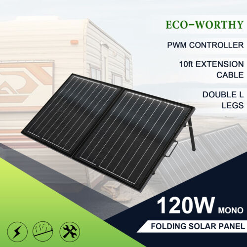 Mono 120W 12V Portable Folding Solar Panel Complete kit For