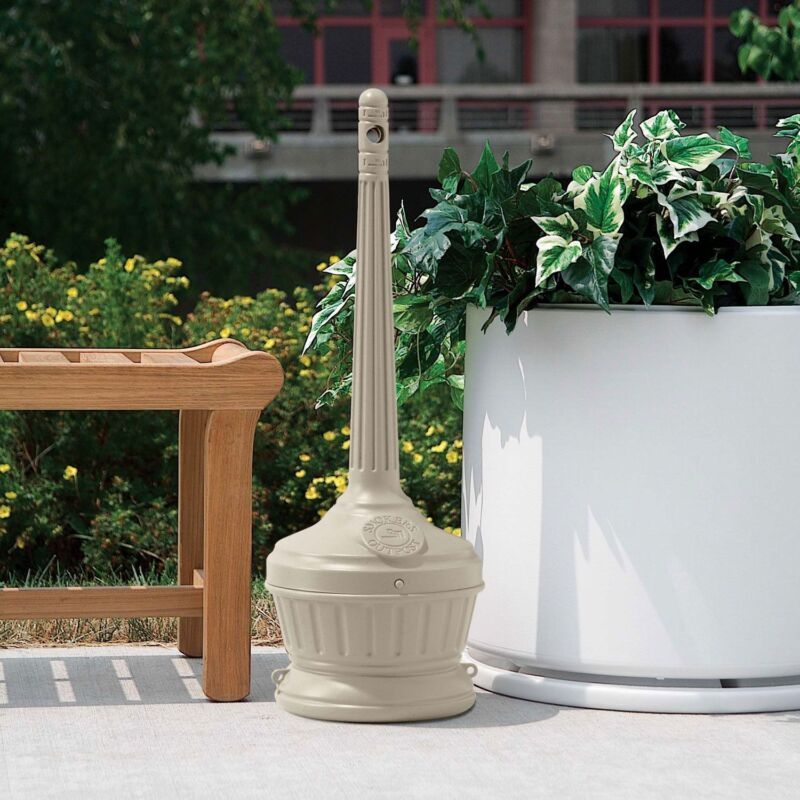 New Outdoor Ashtray Cigarette Receptacle Beige Commercial Wow Xmas Free Ship Hot