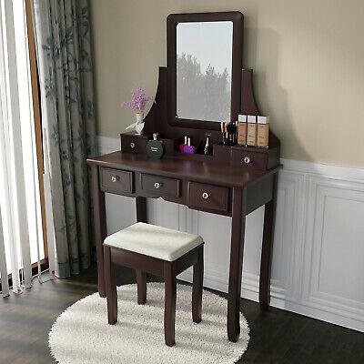 White/Black/Brown Vanity Set 5 Drawers Makeup Dressing Table Mirror Desk & Stool