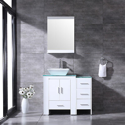 36''Bathroom Vanity Highboy Top Single Vessel White Sink and Faucet Combo&Mirror
