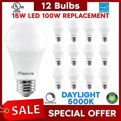 Lot Of 12 Maxlite 15w LED Bulb 100 watt replace A19 Daylight LED Light 100w
