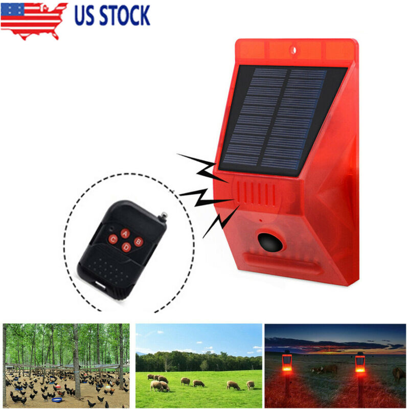 Solar Alarm Lamp Strobe Light Infrared Motion Sensor Waterproof Remote Controll