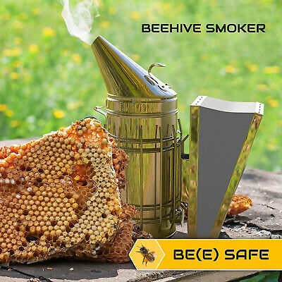 Bee Hive Smoker With Heat Shield Calming Beekeeping Equipment New Us A
