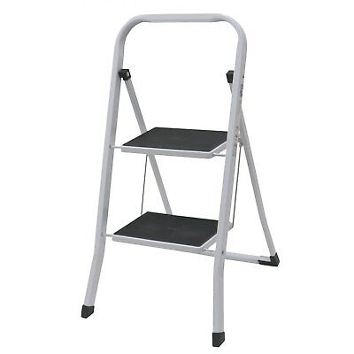 NEW! Foldable 2 Step Ladder Stepladder Non Slip Tread Safety Steel Step