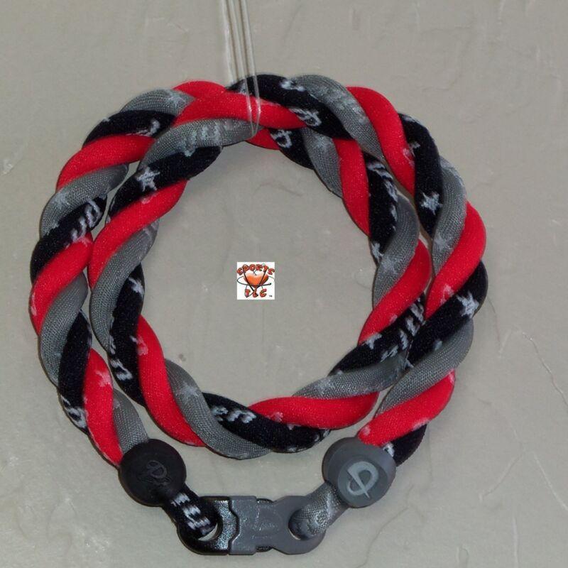 Phiten Titanium Triple Twist Necklace: Gray/Black/Cardinal Red Custom