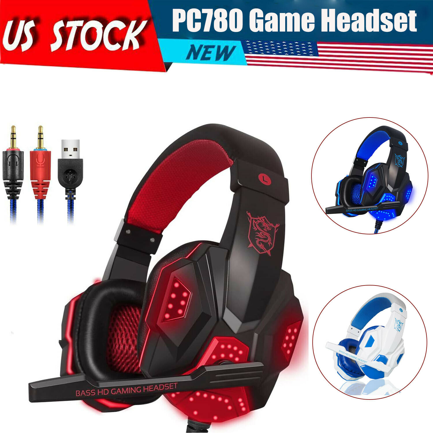 Gaming Headset Stereo Surround Headphones LED USB with Mic  For Xbox One/PS4 PC Computers/Tablets & Networking