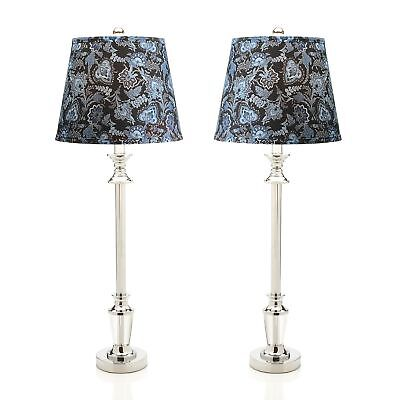 """Style at Home with Margie Set of 2 32"""" Paisley Buffet Lamps"""