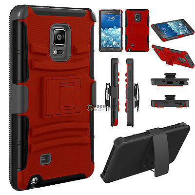 Bumper Hard Case Cover Belt Clip Holster For Samsung Galaxy Note Edge N915 Red