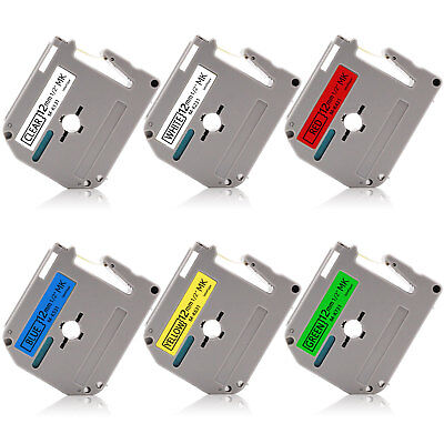 Mk131-731 Label Cartridge 6pk 12mm Tape Compatible For Brother P-touch Pt-90 65