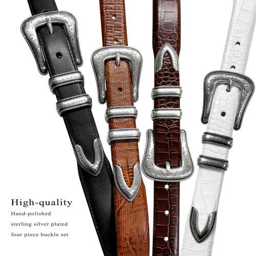 "Brenton Designer Dress Belt With Western Silver Plated Buckle Set 1-1/8"" Wide"