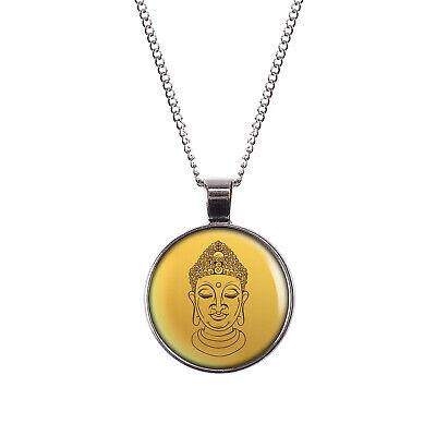 Buddha Meditieren (Mylery Hals-Kette mit Motiv Meditieren Yoga Buddhismus Buddha Kopf silber oder b)
