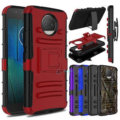 For Motorola Moto G5s Plus Phone Case Hybrid Clip Holster Stand Armor Hard Cover