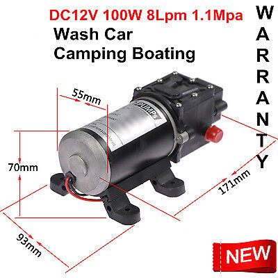 Water Pump Dc 12v 100w 8lpm Diaphragm High Pressure For Wash Car Boat Marine Us