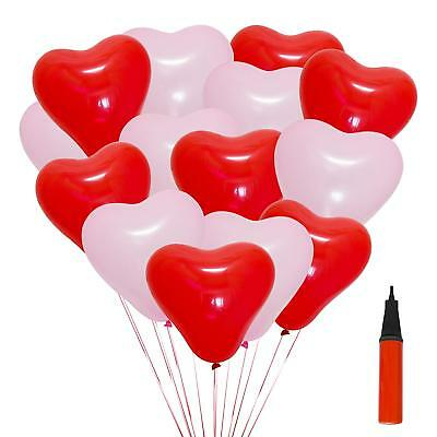 10Red Heart Helium OR Air Balloons Valentines Day Wedding Engagement Decorations (Red Heart Helium Balloons)