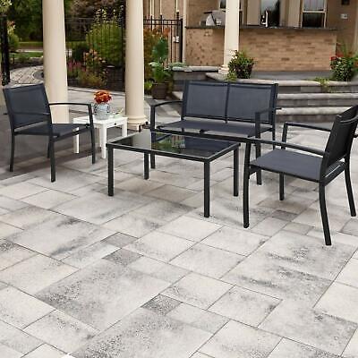 Garden Furniture - 4 Pcs Outdoor Lawn Garden Patio Furniture Bistro Set With Steel Loveseat Black