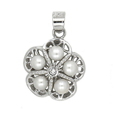 SILVER VINTAGE SYNTHETIC PEARL FLOWER CHARM OR PENDANT