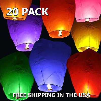 Extra Large 20 pcs Multi Color Chinese Sky Fly Fire Lanterns Sky Fly Candle Lamp