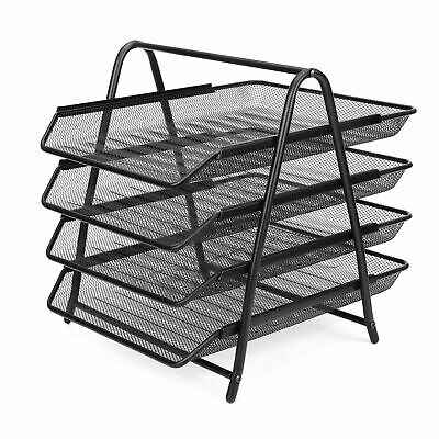 4-tier File Document Letter Paper Tray Office Desktop Organizer Metal Mesh Nice