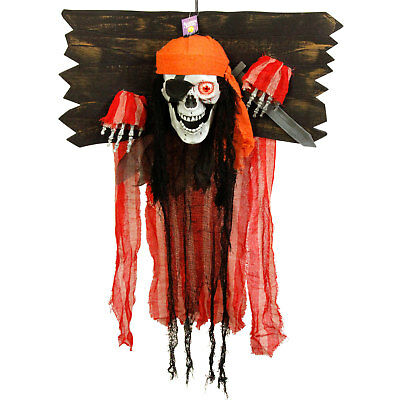 Halloween Haunter Animated Hanging Skeleton Pirate Torture Stock Prop Decoration