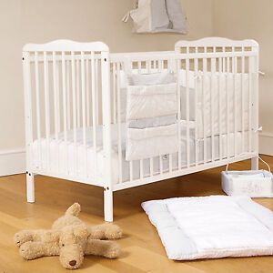 NEW 4BABY WHITE SOLID WOOD EVA BABY COT & FIBRE SAFETY MATTRESS