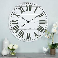 Oversized Wall Clock 30 inch Large Natural Distressed Wood Roman Numerals Rustic