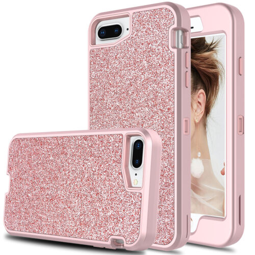 For iPhone 6/6S/7/8 Plus Bling Glitter Shockproof Hybrid Armor Rose Case Cover