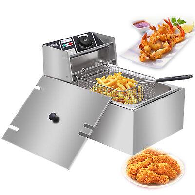 2500W Electric Deep Fryer Countertop Home Commercial Restaurant 6L
