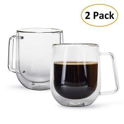 - 2 PCS Double wall Glass Coffee Cups Mug Espresso Handle Heat Resistant 6.8 oz