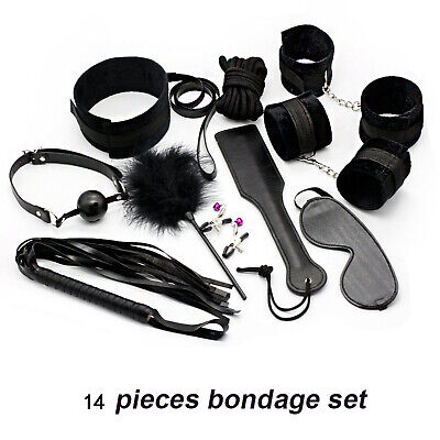 14 Schwarz Leder (14 Artikel Schwarz Leder Bondage Sex Set BDSM Kragen Manschetten Für Liebhaber)