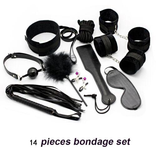 14 Artikel Schwarz Leder Bondage Sex Set BDSM Kragen Manschetten Für Liebhaber