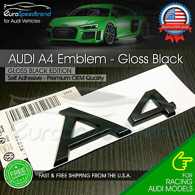 Audi A4 Gloss Black Emblem 3D Rear Trunk Lid Badge OEM S Line Logo Nameplate