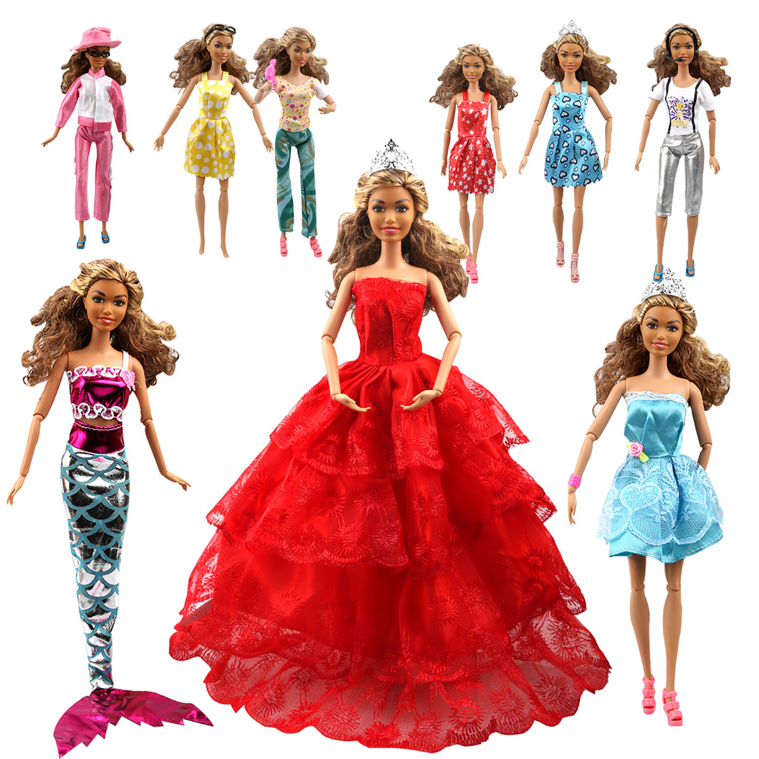 Купить Tatuer HE005-110X-USF - 110PCS Barbie Doll Clothes Accessory Party Gown Outfits Shoes Hanger Magic Wand
