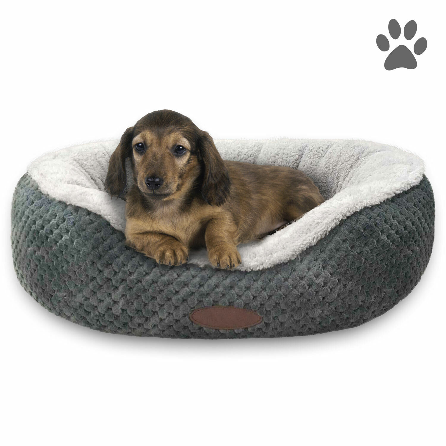 24″ or 28″ Pet Bed Cuddler Small or Medium Washable Grey Microfleece Cozy Soft Beds