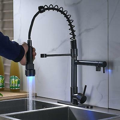 Oil Rubbed Bronze Kitchen Faucet LED Pull Down  Sprayer Sink Mixer With - Bronze Faucet