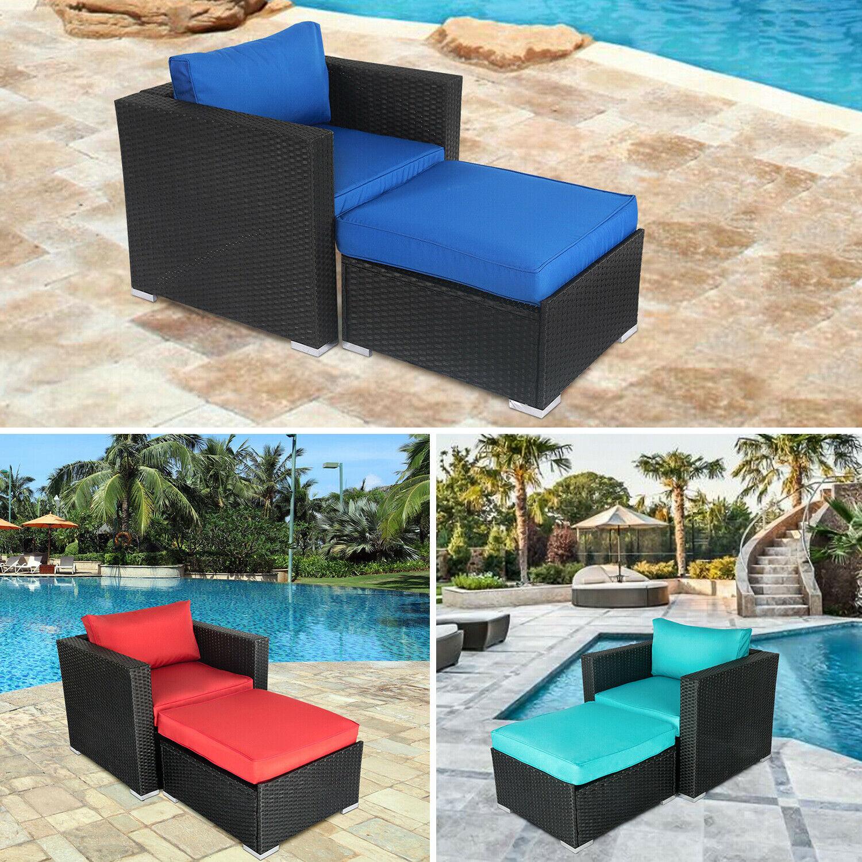 Garden Furniture - Rattan Wicker Armrest Sofa Set Cushioned Couch Lounge Chair Garden Furniture