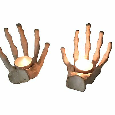 GiftBay Halloween Hand Bone Pair Votive Holders, Cast Aluminum Metal, 6