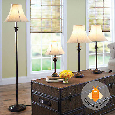 4 Song LAMP SET Living Room Floor Table Warm Light Decor Bedroom Accent Shade