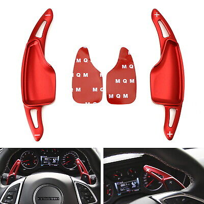 Red Steering Wheel Paddle Shifter Extensions For Chevy 14-19 C7 Corvette,