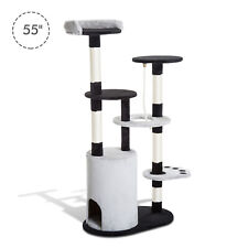 """PawHut D6-0011 55"""" Cat Tree Scratching Furniture with Condo Post"""
