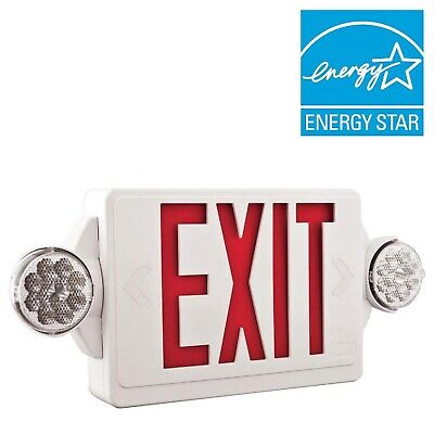 2-light Plastic Led White Exit Signemergency Combo With Led Heads And Red Stenc