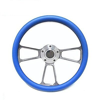 New World Motoring Boat Steering Wheel - Billet Aluminum & Blue Half Wrap, Ho...