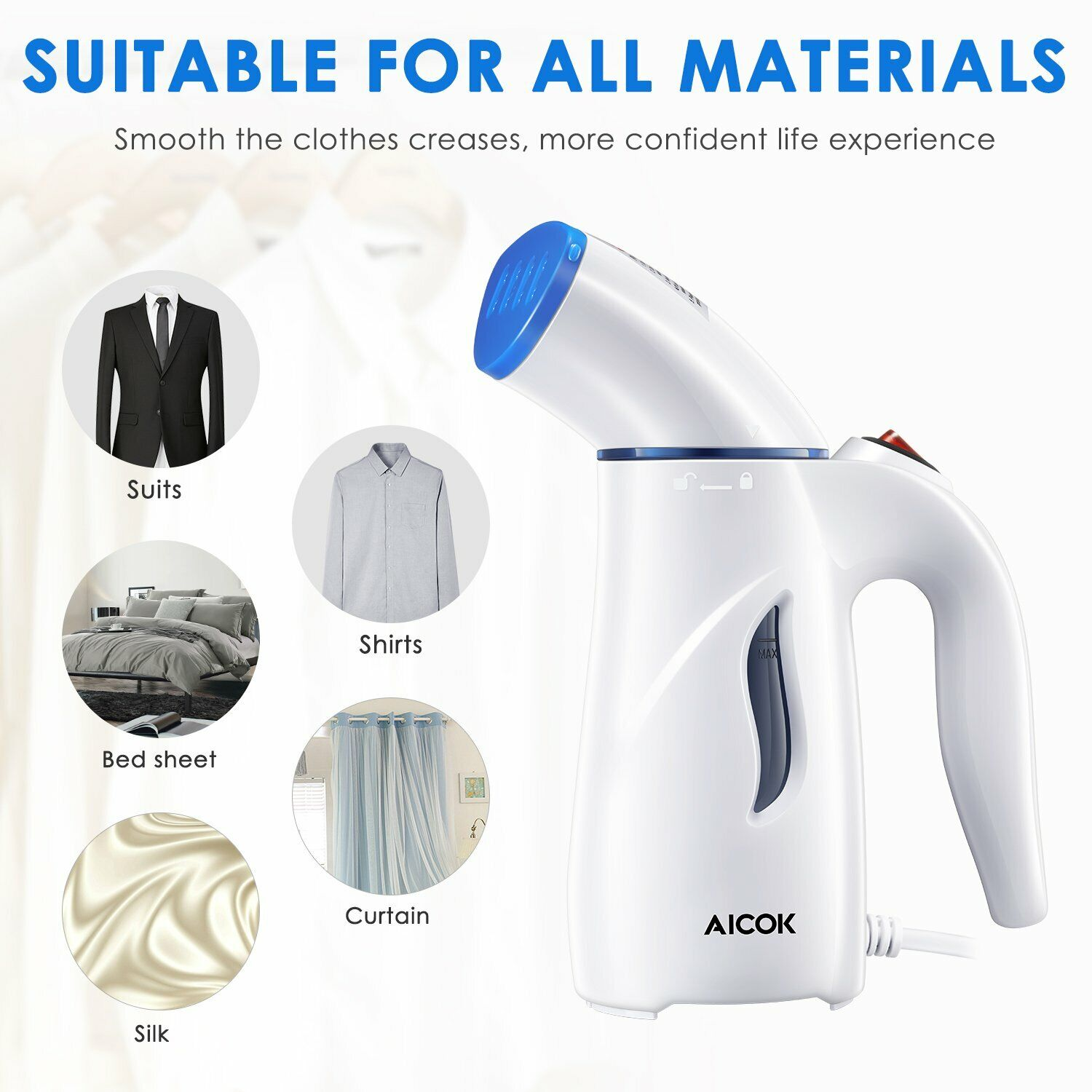 Aicok Travel Garment Steamer, 4-in-1 Fabric Steamer,  Powerf