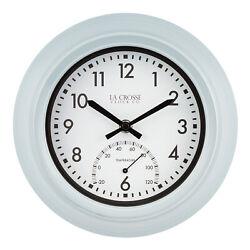 T82110 La Crosse Clock Co. 9 Indoor/Outdoor Analog Wall Clock with Temperature
