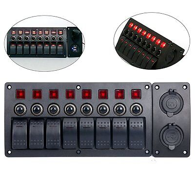 8 Gang Red Led Indicators Rocker Marine Switch Panel 12v Power Adapter Panel