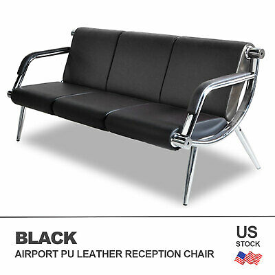 Office Airport Waiting Chair Bench 3-Seat Reception PU Leather Guest Sofa Seat