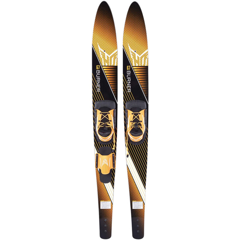 HO Skis Burner 67-Inch Waterskiing Combo Skis w/ Trainer Bar Bindings, Yellow