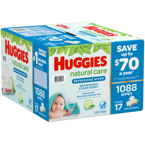 Huggies Natural Care Refreshing Clean Baby Wipes Disposable Soft Pack 1,088 ct.