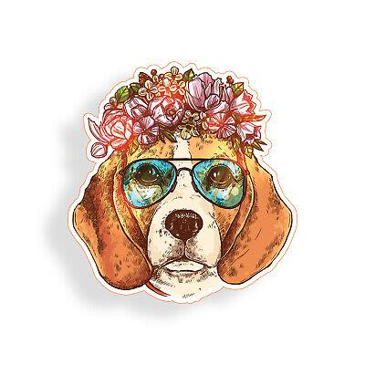 Beagle Flower Sticker K9 Dog Breed Pet Laptop Cup Cooler Car Window Bumper Decal