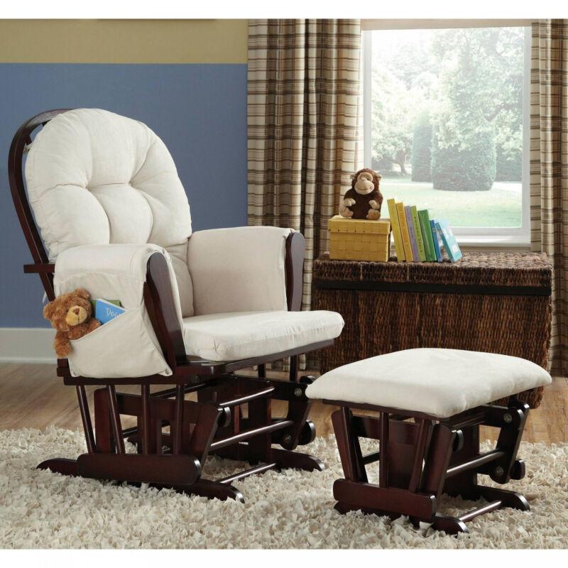 Cherry Wood Bowback Glider And Ottoman Beige Cushions Nursery Furniture Set