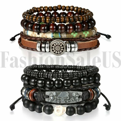 Jewellery - 2 Sets(8pcs) Men Women Braided Leather Wristband Bracelet Set Beaded Cuff Bangle